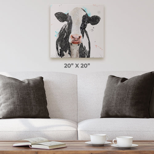 """Harriet"" The Holstein Cow Square Canvas Print"