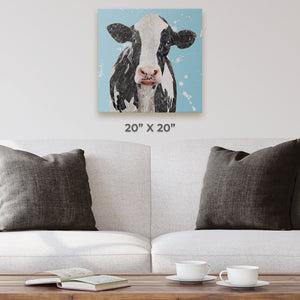 """Harriet"" The Holstein Cow (Blue Background) Square Canvas Print - Andy Thomas Artworks"