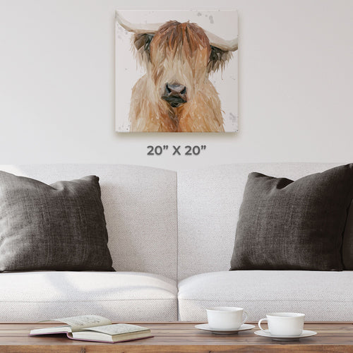 """Bernadette"" The Highland Cow (Grey Background) Square Canvas Print"