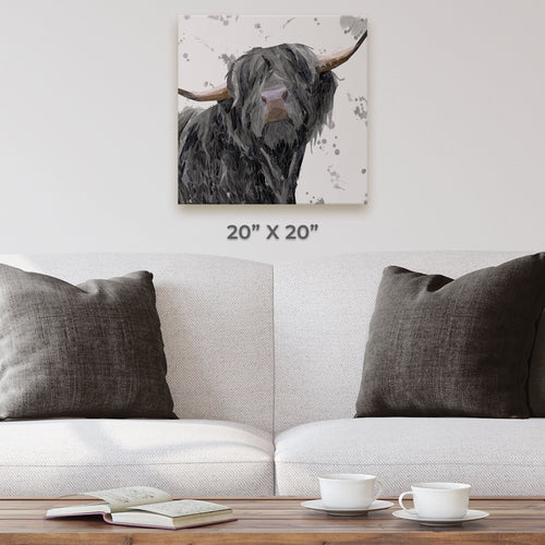 """Barnaby"" The Highland Bull (Grey Background) Square Canvas Print"
