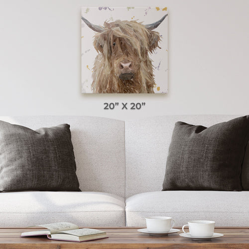 """Millie"" The Highland Cow Square Canvas Print"