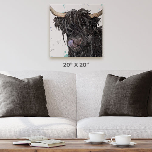 """Mabel"" The Highland Cow Square Canvas Print"