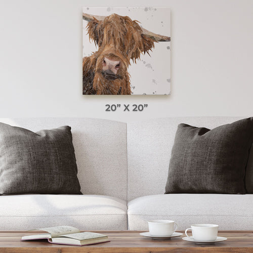 """Mac"" The Highland Bull (Grey Background) Square Canvas Print"