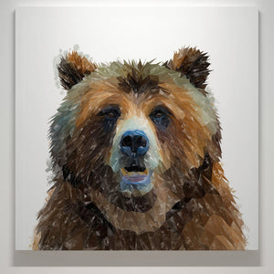 """Monty"" The Brown Bear Square Canvas Print - Andy Thomas Artworks"
