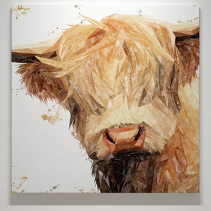 """Brenda"" The Highland Cow Square Canvas Print - Andy Thomas Artworks"