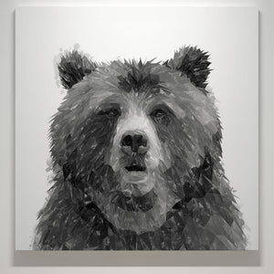 """Monty"" The Brown Bear (B&W) Square Canvas Print - Andy Thomas Artworks"