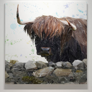 """Freya"" The Highland Cow from Applecross Square Canvas Print - Andy Thomas Artworks"