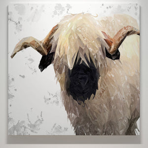 """Bertie"" The Valais Ram (Grey Background) Square Canvas Print - Andy Thomas Artworks"