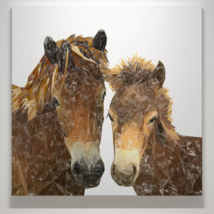 """The Exmoor Pair"" Emoor Ponies Square Canvas Print - Andy Thomas Artworks"