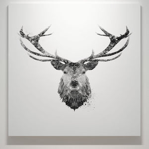 """The Stag"" (B&W) Square Canvas Print - Andy Thomas Artworks"