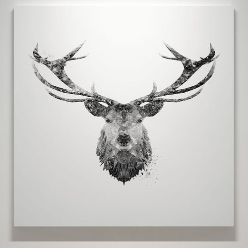 """The Stag"" (B&W) Square Canvas Print"