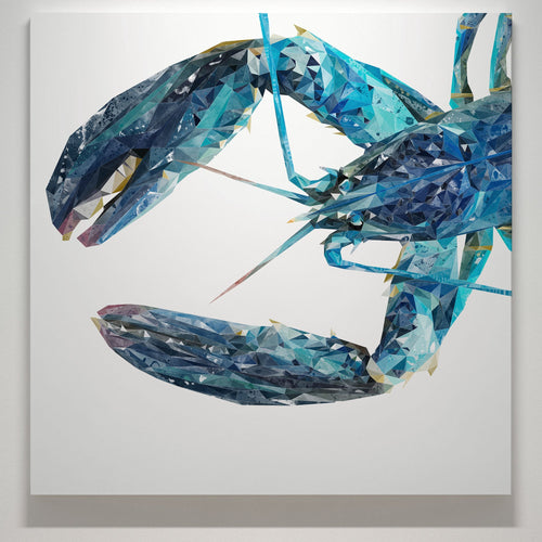 """The Blue Lobster"" Square Canvas Print"