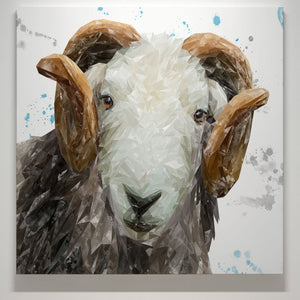 """Stanley"" The Herdwick Ram Square Canvas Print - Andy Thomas Artworks"