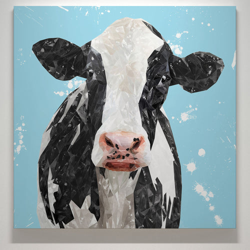 """Harriet"" The Holstein Cow (Blue Background) Square Canvas Print"