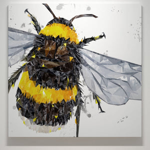 """The Bee"" (Grey Background) Square Canvas Print - Andy Thomas Artworks"