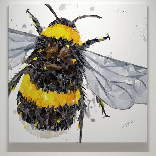"""The Bee"" (Grey Background) Square Canvas Print"
