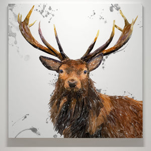 """Rory"" The Stag (Grey Background) Square Canvas Print - Andy Thomas Artworks"