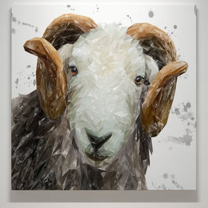 """Stanley"" The Herdwick Ram (Grey Background) Square Canvas Print - Andy Thomas Artworks"