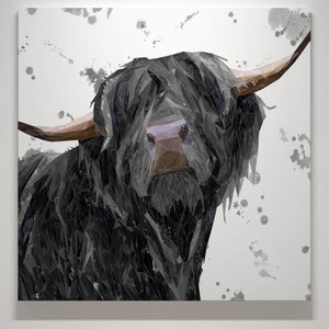 """Barnaby"" The Highland Bull (Grey Background) Square Canvas Print - Andy Thomas Artworks"
