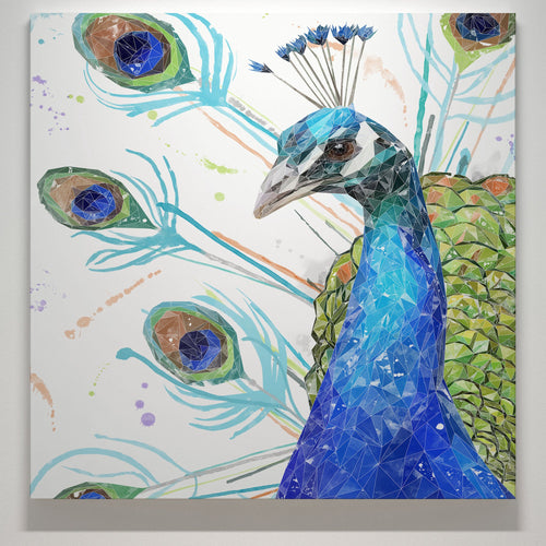 """Percy"" The Peacock Square Canvas Print"