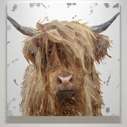 """Millie"" The Highland Cow (Grey Background) Square Canvas Print"