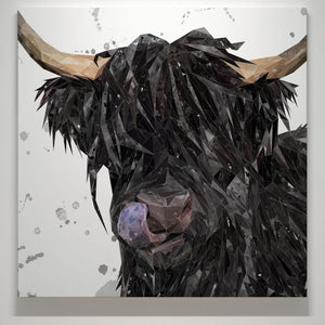 """Mabel"" The Highland Cow (Grey Background) Square Canvas Print - Andy Thomas Artworks"
