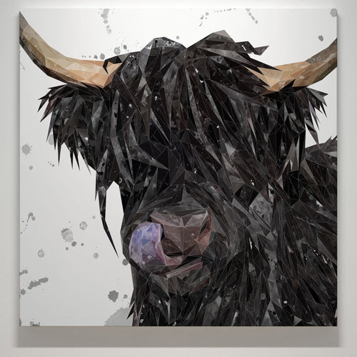"""Mabel"" The Highland Cow (Grey Background) Square Canvas Print"