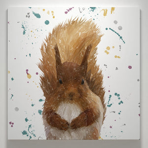"""Ellis"" The Red Squirrel Square Canvas Print - Andy Thomas Artworks"