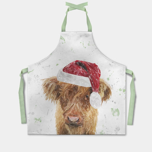 "Christmas ""Peeps"" The Highland Calf (Green) Apron"