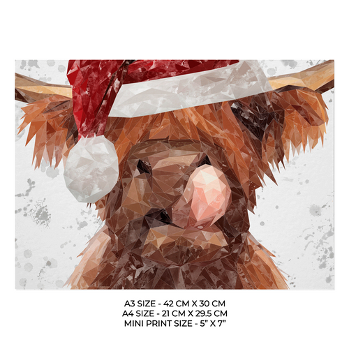 "Christmas ""Harry"" Grey Background Art Print"