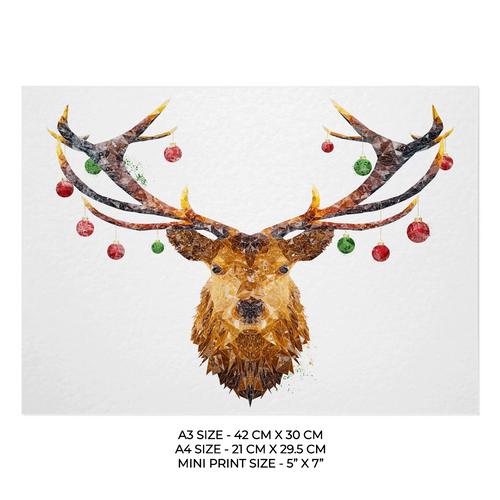 "Christmas ""The Stag"" Art Print"