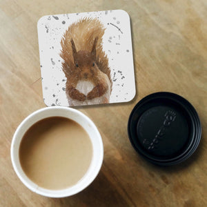 """Ellis"" The Red Squirrel (Grey Background) Coaster - Andy Thomas Artworks"