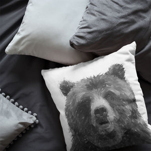 """Monty"" The Brown Bear (B&W) Cushion - Andy Thomas Artworks"