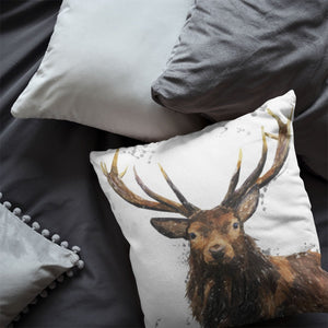 """Rory"" The Stag (Grey Background) Cushion - Andy Thomas Artworks"