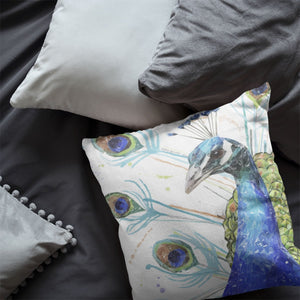"""Percy"" The Peacock Cushion - Andy Thomas Artworks"