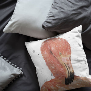 """Felicity"" The Flamingo (Grey Background) Cushion - Andy Thomas Artworks"