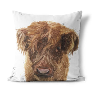 """Peeps"" The Highland Calf Cushion - Andy Thomas Artworks"