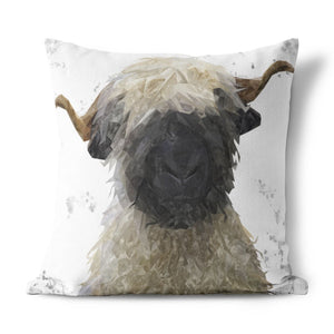 """Betty"" The Valais Blacknose Sheep (Grey Background) Cushion - Andy Thomas Artworks"