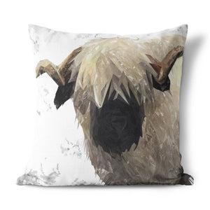 """Bertie"" The Valais Ram (Grey Background) Cushion - Andy Thomas Artworks"