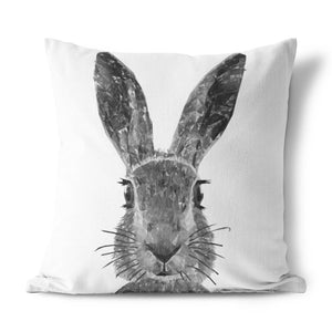 """The Hare"" (B&W) Cushion - Andy Thomas Artworks"
