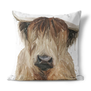 """Bernadette"" The Highland Cow (Grey Background) Cushion - Andy Thomas Artworks"