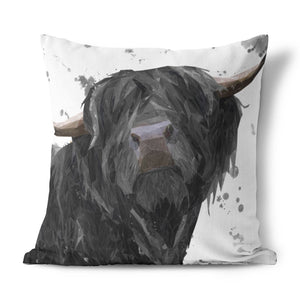 """Barnaby"" The Highland Bull (Grey Background) Cushion - Andy Thomas Artworks"
