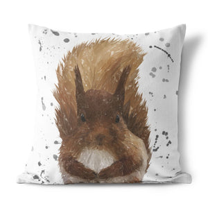 """Ellis"" The Red Squirrel (Grey Background) Cushion - Andy Thomas Artworks"