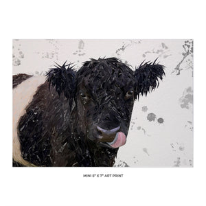 """Eugene"" The Belted Galloway Bull (Grey Background) 5x7 Mini Print - Andy Thomas Artworks"