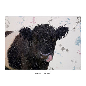 """Eugene"" The Belted Galloway Bull 5x7 Mini Print - Andy Thomas Artworks"