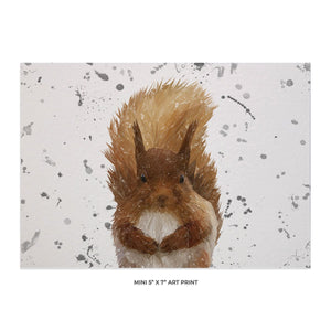 """Ellis"" The Red Squirrel (Grey Background) Landscape 5x7 Mini Print - Andy Thomas Artworks"