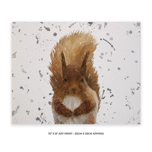 """Ellis"" The Red Squirrel (Grey Background) Landscape 10"" x 8"" Unframed Art Print - Andy Thomas Artworks"