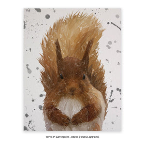 """Ellis"" The Red Squirrel (Grey Background) 10"" x 8"" Unframed Art Print - Andy Thomas Artworks"