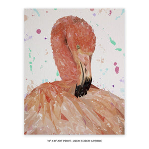 """Felicity"" The Flamingo 10"" x 8"" Unframed Art Print - Andy Thomas Artworks"