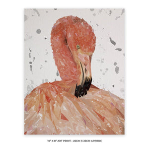 """Felicity"" The Flamingo (Grey Background) 10"" x 8"" Unframed Art Print - Andy Thomas Artworks"